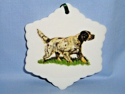English Setter Dog Porcelain Snowflake Christmas Tree Ornament Fired Decal-G