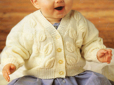 "Aran Style Baby Leaf Pattern Cardigan 16"" - 22"" Knitting Pattern in 4 Ply"