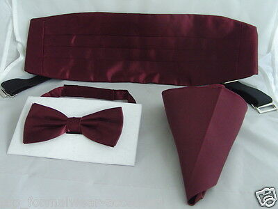 <TOP>Shiny BURGUNDY Bow Tie + Cummerbund and Hankie Set>Over 60 Colours in SHOP!