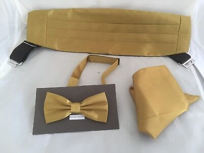 Shiny GOLD Polyester Mens Bow Tie + Cummerbund and Hankie Set>60 Colours in SHOP