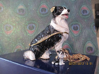 Border Collie Jeweled Box & Matching Necklace #62546