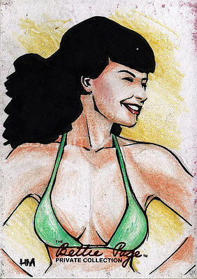 Bettie Page Private Collection Sketch Card by Heubert Khan Michael