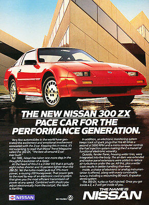 1986 Nissan 300-ZX 300ZX - pace car -  Classic Vintage Advertisement Ad A63-B