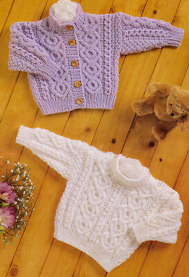 "Baby Aran Knitting Pattern Button Up Cardigan & Sweater Button Opening 16"" - 24"""