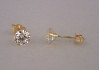 9ct Gold ROUND 5mm BRILLIANT CLEAR WHITE CZ STUD EARRINGS B'Day Mum's GIFT BOX N