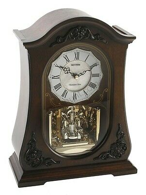 RHYTHM Solid Wood  Mantel Arched  Pendulum  Clock With Swarovski Elements
