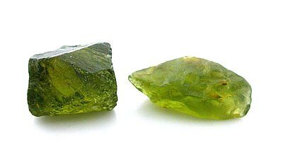 11.3 Grams Two Peridot Crystal Facet Rough Gem Stone Gemstone EBS2262