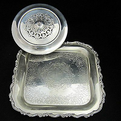 """2 Pc Mixed Lot Silverplate Covered Entree Dish & """"Onieda"""" Georgian Scroll Tray"""