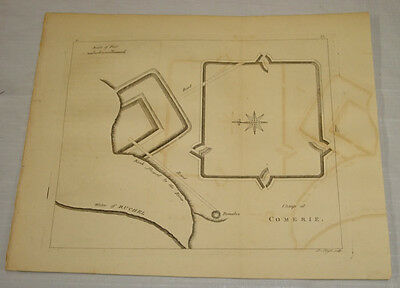 1776 Antique Print/MAP, CAMP AT COMERIE, ON WATER OF RUCHEL, SCOTLAND