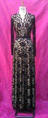 05af5fc884 Baylis Knight Black Nude LACE Long Sleeve MAXI KATE Flared Skirt Low Cut  Dress