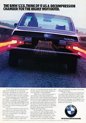 1984 BMW 533i - motivated - Classic Vintage Advertisement Ad A75-B