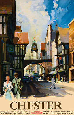 TU77 Vintage Chester British Railways Travel Poster Re-Print A2 A3