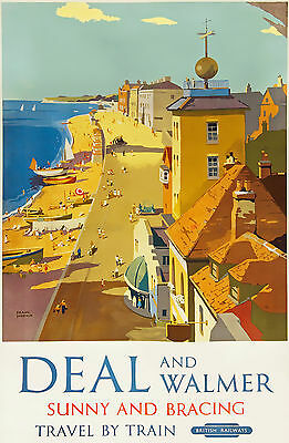 TU84 Vintage DEAL And WALMER Kent British Railway Travel Poster Re-Print A2 A3