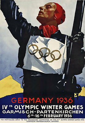 TU68 Vintage German Germany 1936 Winter Olympic Games Travel Poster A2 A3