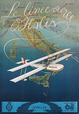 TV06 Vintage 1920's Italian Airlines Italy Travel Tourism Poster A1 A2 A3