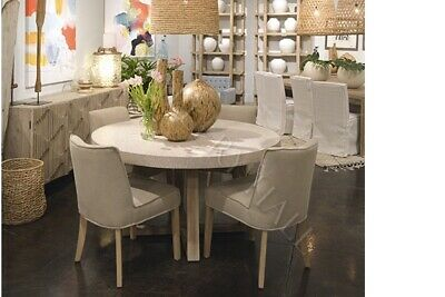 Urban France Pedestal Dining Table With (4) Upholstered Dining Chairs