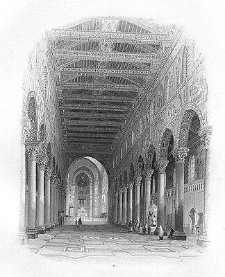 Sicily, MONREALE CATHEDRAL CLOISTERS ~ 1859 Art Print