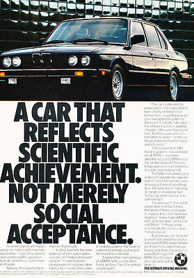 1986 BMW 528e - Classic Vintage Advertisement Ad A82-B