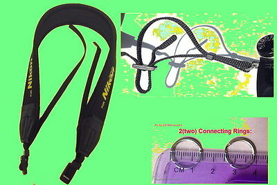 NEOPRENE CAMERA STRAP for NIKON COOLPIX L100 L110 L120 L105 +2 CONNECTING RINGS