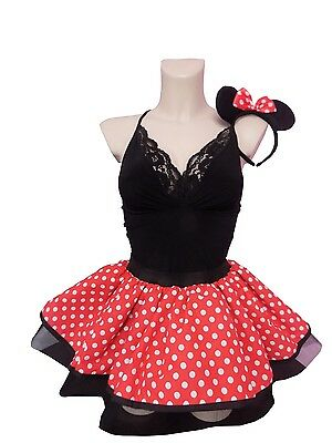 Neon Tutu Mouse Red Tutu SKIRT 80's Fancy Dress White Polka Dots Headband Minnie