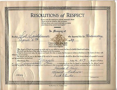 Authentic KNIGHTS OF PYTHIAS 1939 OHIO RESOLUTION OF RESPECT DEATH CERTIFICATE