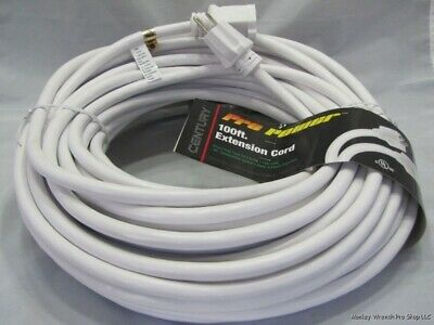 Nib White 100Ft 12/3 Sjtw Pro Power Extension Cord 15A 125V D14512100