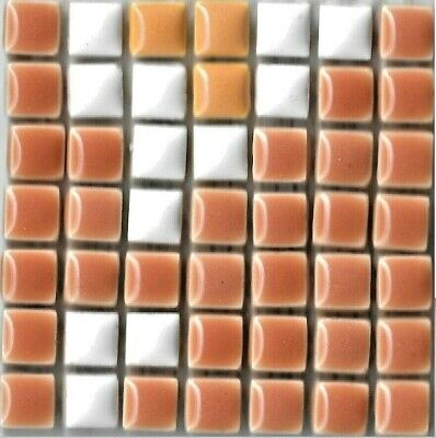 49 Ceramic Mosaic Tiles 1x1 Brown, Orange, White - Type 1