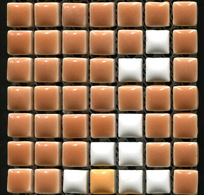 49 Ceramic Mosaic Tiles 1x1 Brown, Orange, White - Type 2