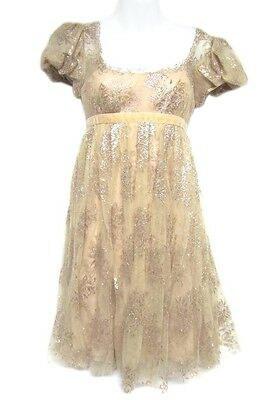 MARCHESA Notte Champagne Blush Mauve Pink Floral Lace Cap Puff Sleeve Dress