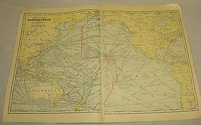 1911 Antique MAP of PACIFIC OCEAN, b/w POLAR EARTH VIEW/Full Color