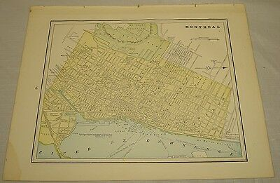 1891 Antique Color MAP of MONTREAL, QC, b/w HALIFAX, NS