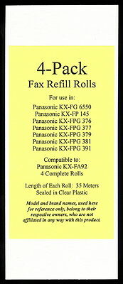 4-pack of KX-FA92 Fax Film Refills for Panasonic KX-FPG381 KX-FPG391 KX-FPG550