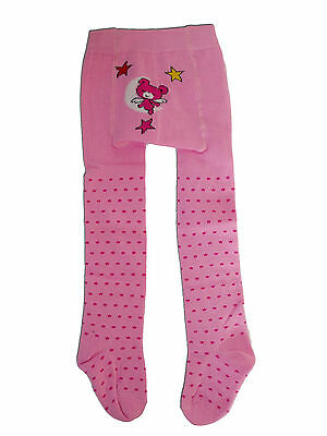 New 1 Pair of Girls Pink Cotton Bear&Star Winter Tights 12-24 Months
