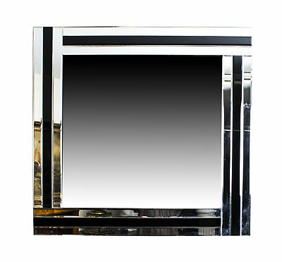 Cool and Chic Silver and Ebony Square Art Deco Mirror 90 x 90 cm