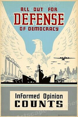 "1930s WPA ""All Out Defense of Democracy"" Classic WPA Poster - 16x24"