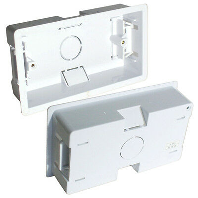 35mm Deep Twin Plastic Dry Lining Back Box - 1 Gang Wall Flush Mount Pattress