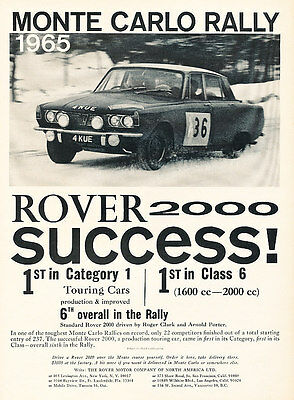 1965 Rover 2000 Monte Carlo Rally Car - Classic Vintage Advertisement Ad A85-B