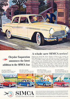 1960 Simca Vedette Ariane - Classic Vintage Advertisement Ad A88-B