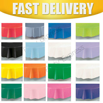 "Plastic Tablecovers Party Table Cloth Cloths Round 84"" /213 CMS ~~20 Colours"