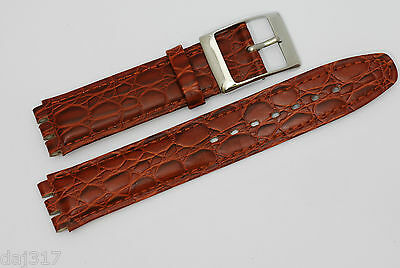 CLEARANCE PRICE 17mm/20mm BROWN Leather Watch Strap, For STANDARD SWATCH Watches