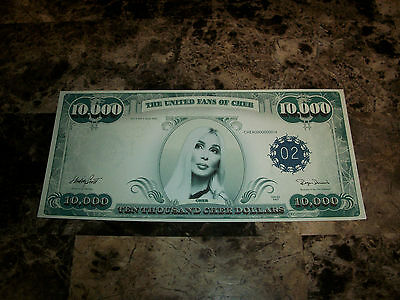 Cher rare Authentic Official Promo Money 2002 10,000 Fake Bill RARE Record Label
