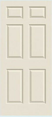 Colonist 6 Panel Primed Molded Solid Core Wood Grain Textured Interior Doors