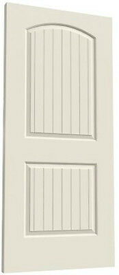 Santa Fe 2 Panel Arch Top V-Groove Primed Molded Solid Core Wood Composite Doors