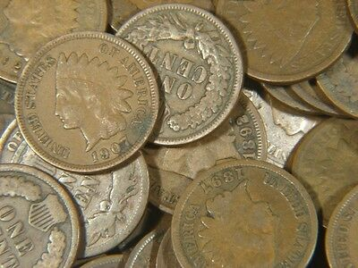 (10) 1800's-1900's Indian Head Copper Penny Cent Coin Full Dates Only from Lot