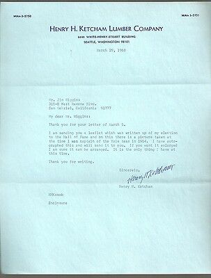 Henry Ketcham signed letter CFHOF Yale RARE