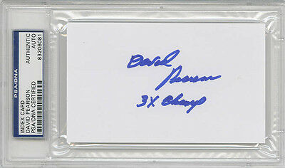David Pearson SIGNED 3x5 Index Card +3 x Champ NASCAR LEGEND PSA/DNA AUTOGRAPHED