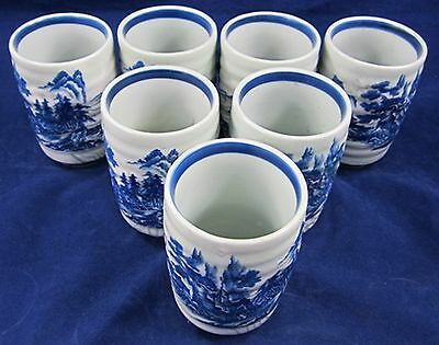 7 PORCELAIN JAPANESE TEA CUPS Blue White Japan Mixed Oxide Countryside Vintage