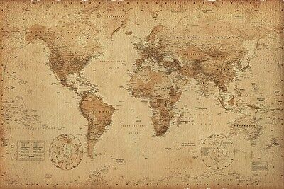 World Map Poster Ye Old Parchment  Gloss Laminated New Sealed Free UK P&P