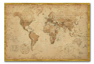 World map poster ye old parchment oak framed ready to hang frame world map poster ye old parchment oak framed ready to hang frame free pp gumiabroncs Images
