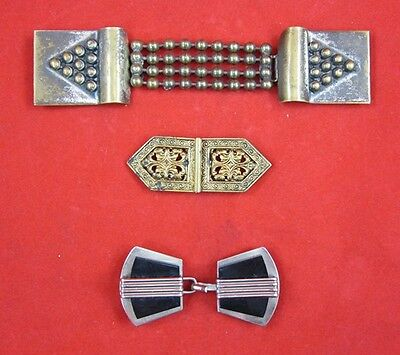 LOT BELT BUCKLES Vintage ART DECO Art Nouveau BAKELITE Brass Mother of Pearl
